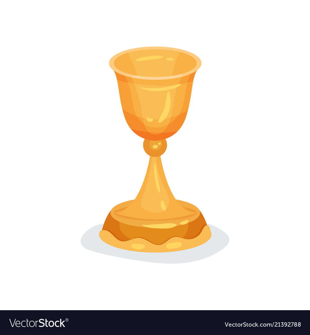 Flat icon of golden chalice used in