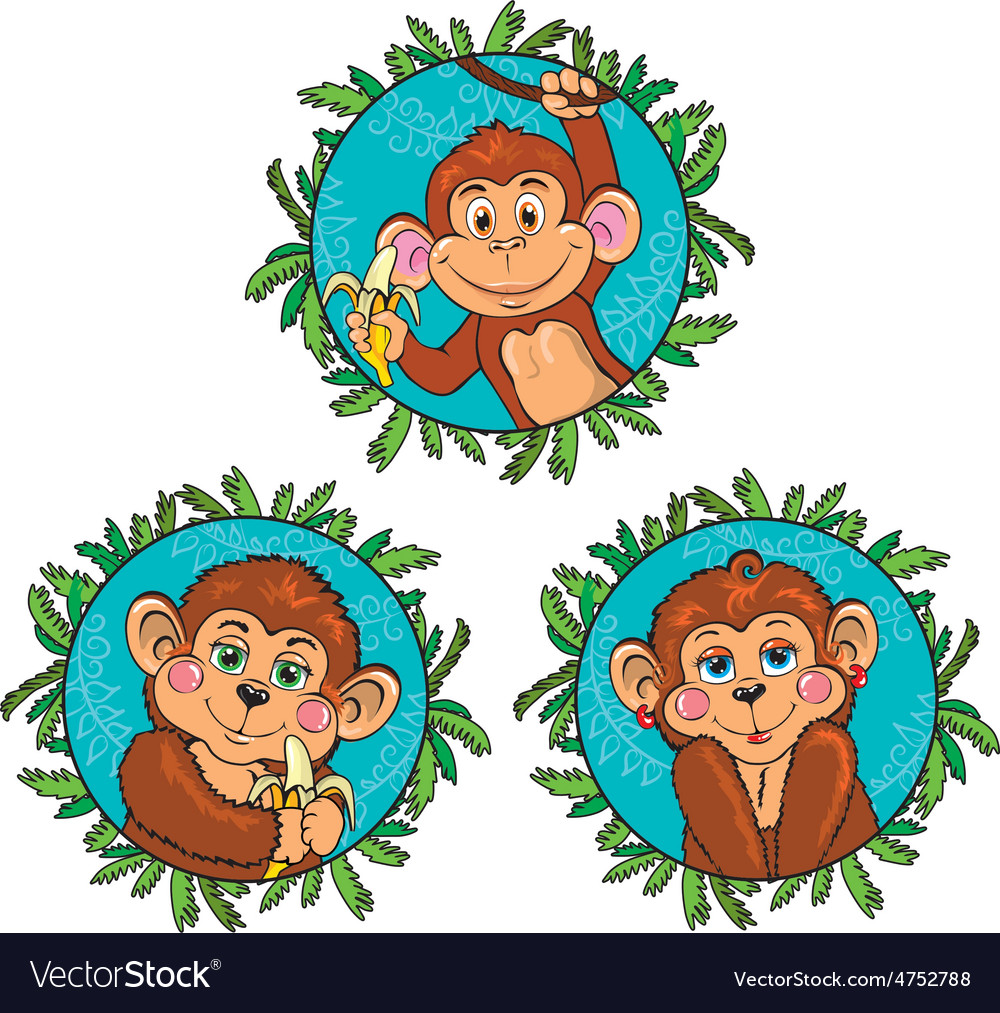 Funny monkey with a banana in his hand set