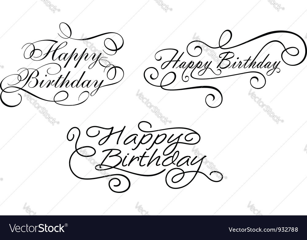Happy birthday calligraphic embellishments