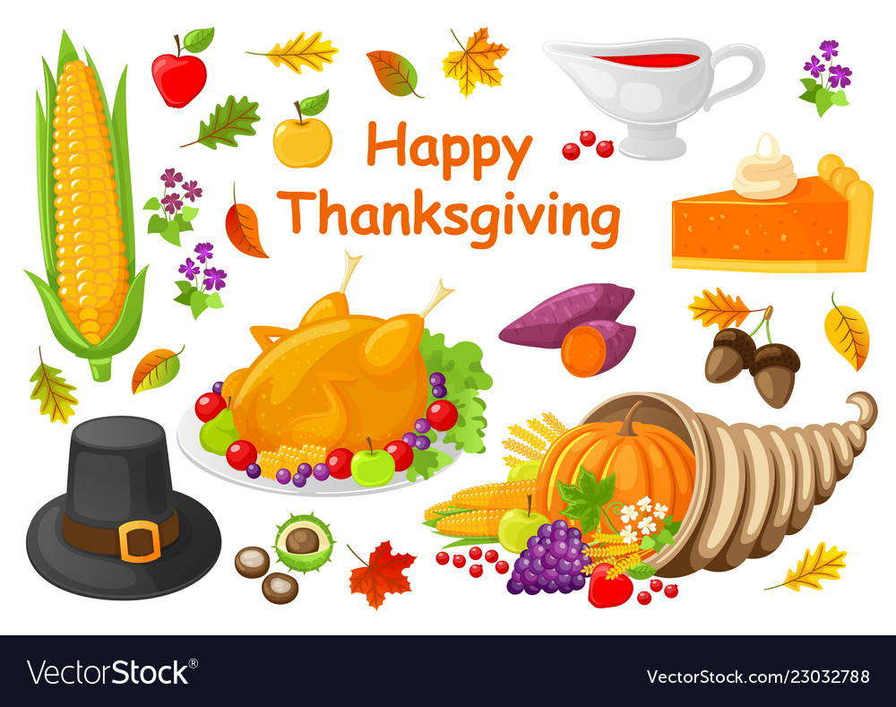 Happy thanksgiving poster with icons set