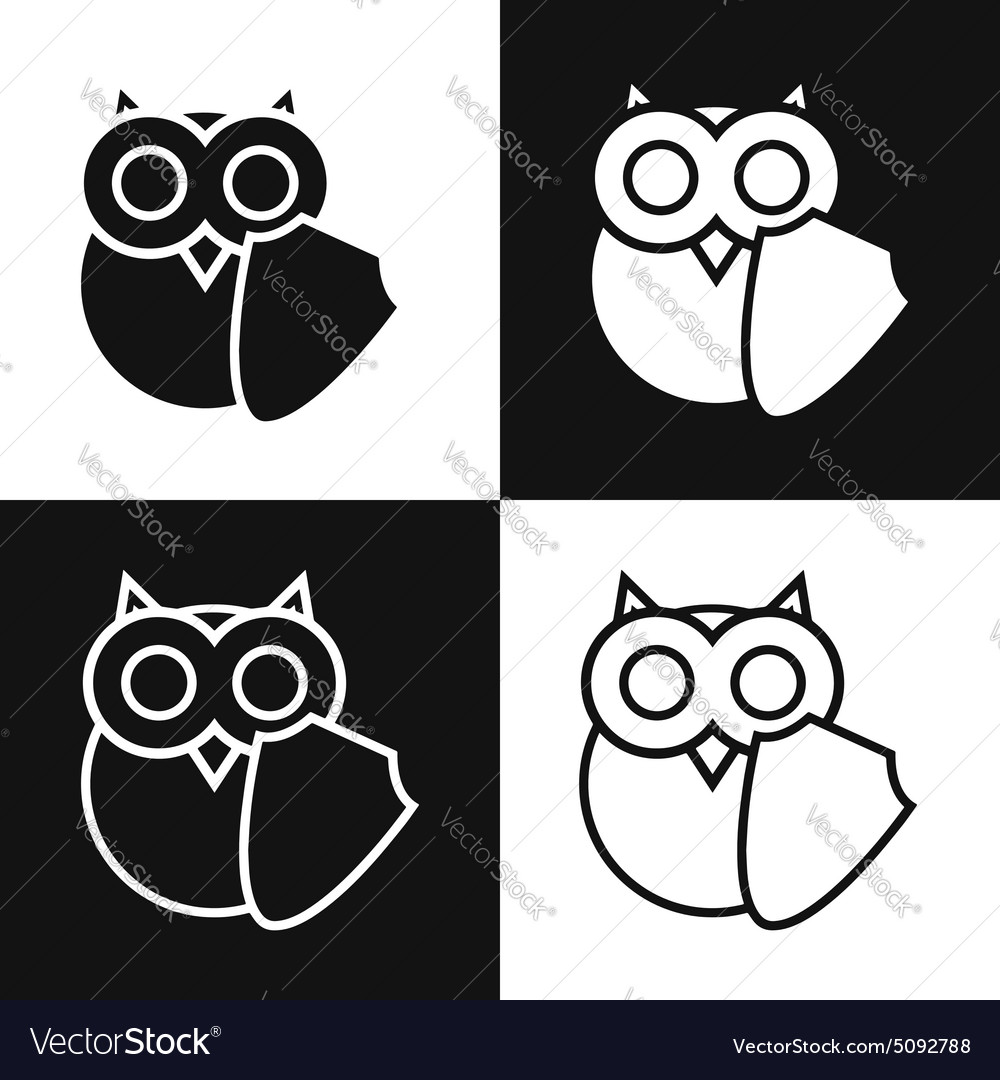 Owl logo with shell symbol of education security vector image