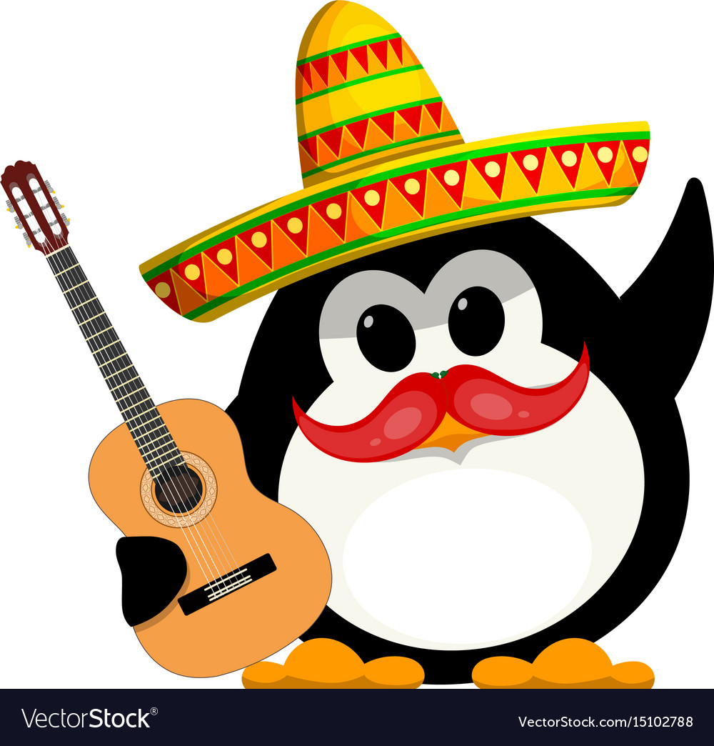Penguin with a guitar and a sombrero cartoon