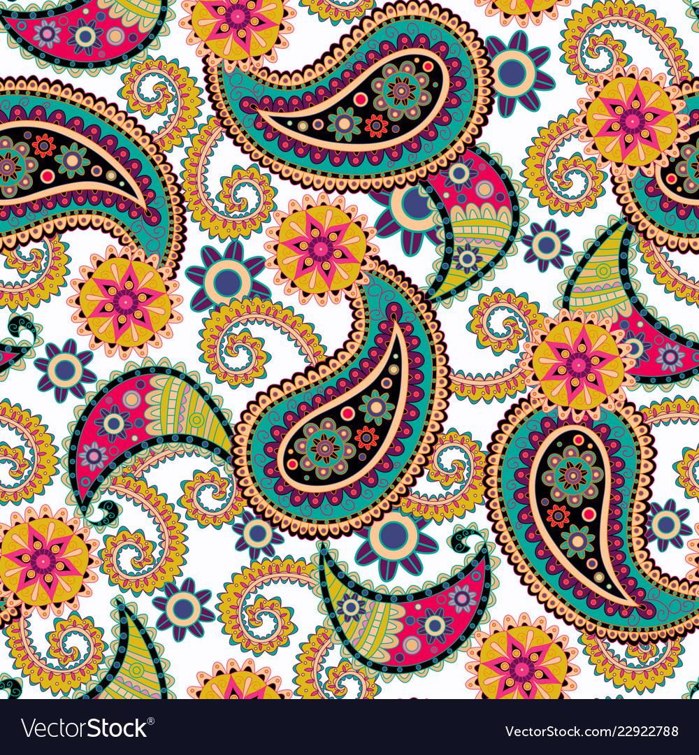 Seamless paisley backgroundcolorful flowers