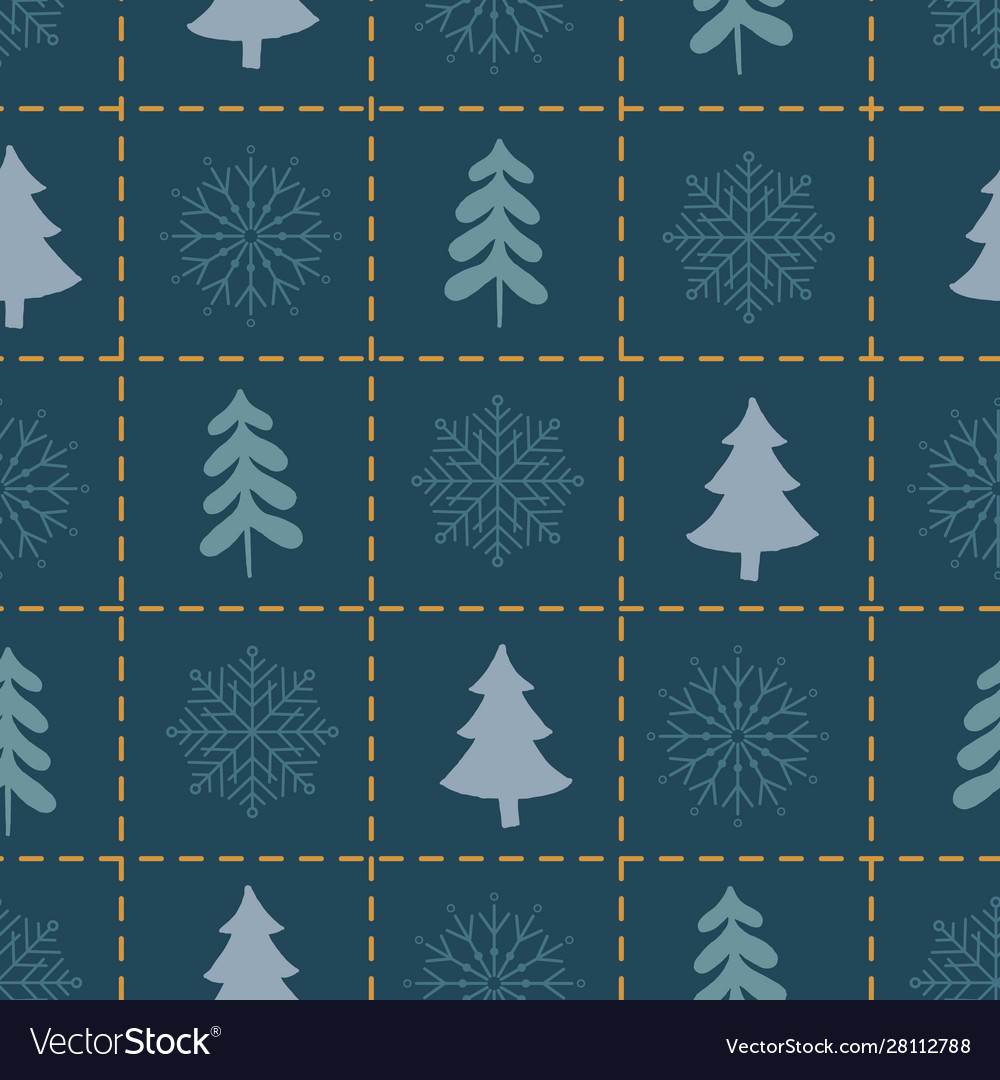 Xmas seamless pattern with spruce tree on square