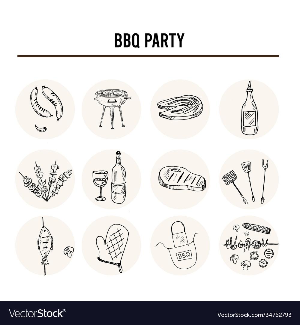 Bbq party set menu doodle icons