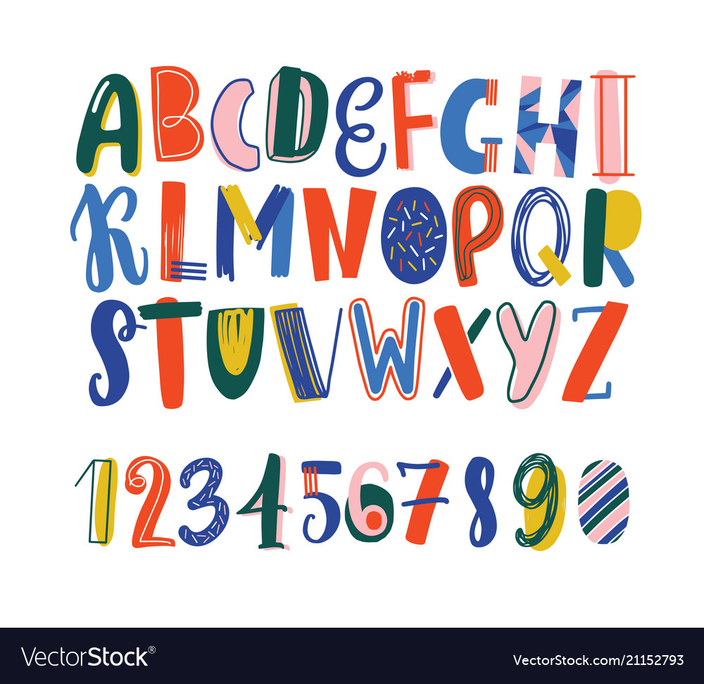 Bright colored hand drawn latin font or english
