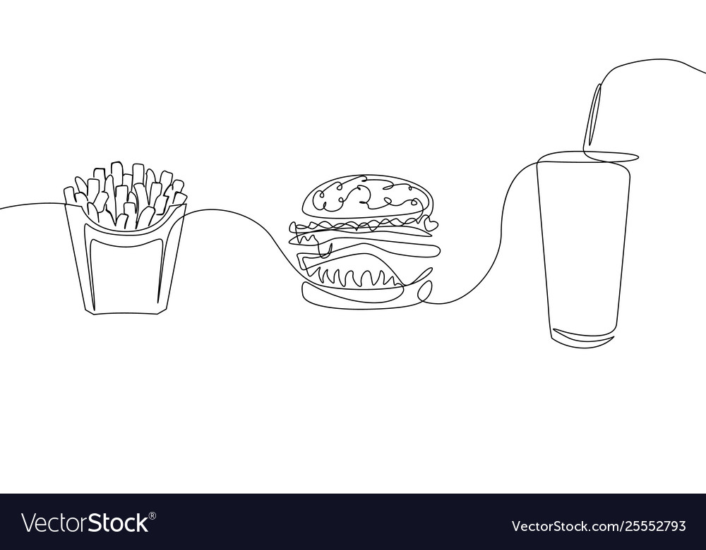 Continuous one line drawing fastfood french fries