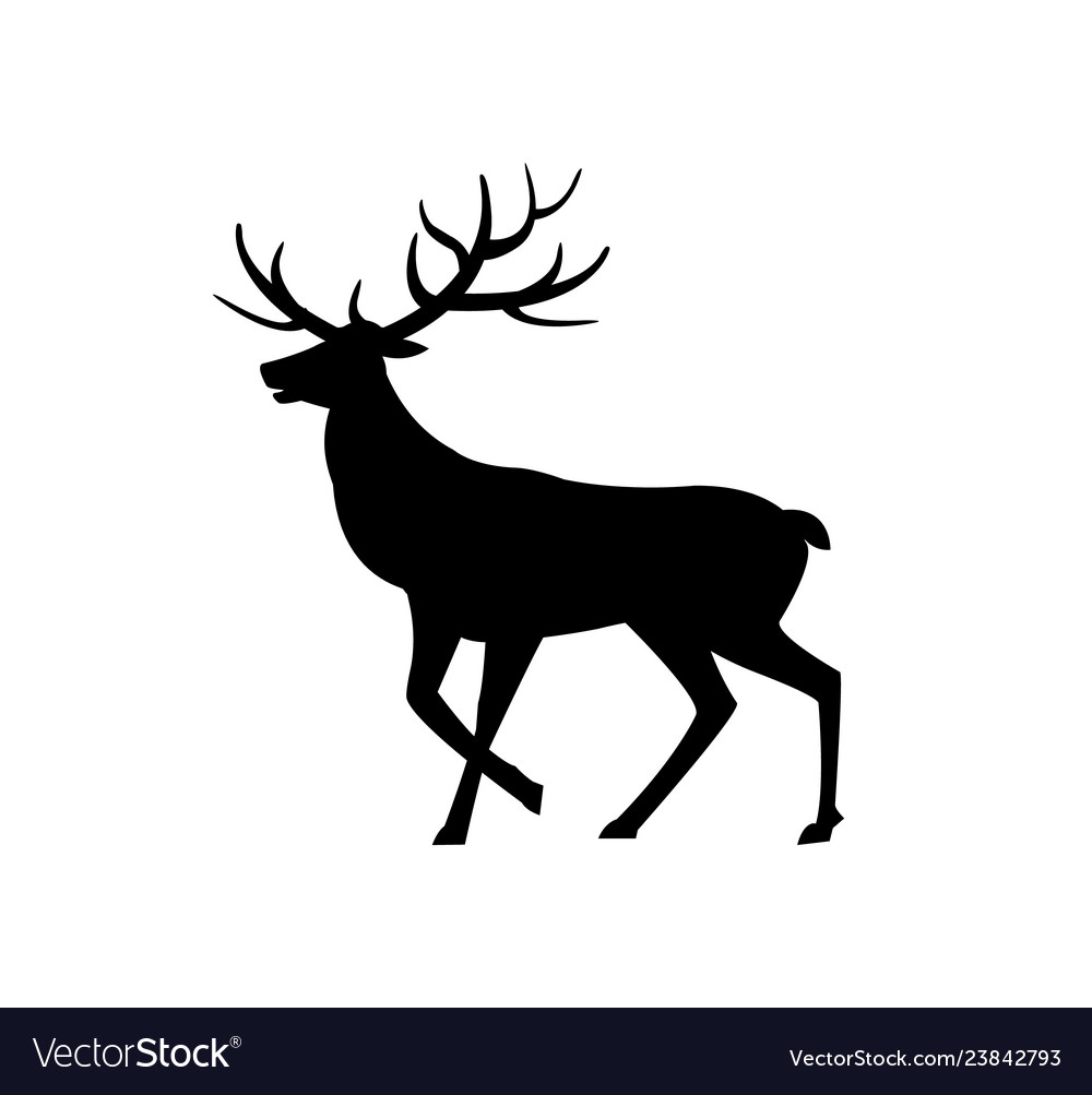 Deer animal with horns isolated icon silhouette