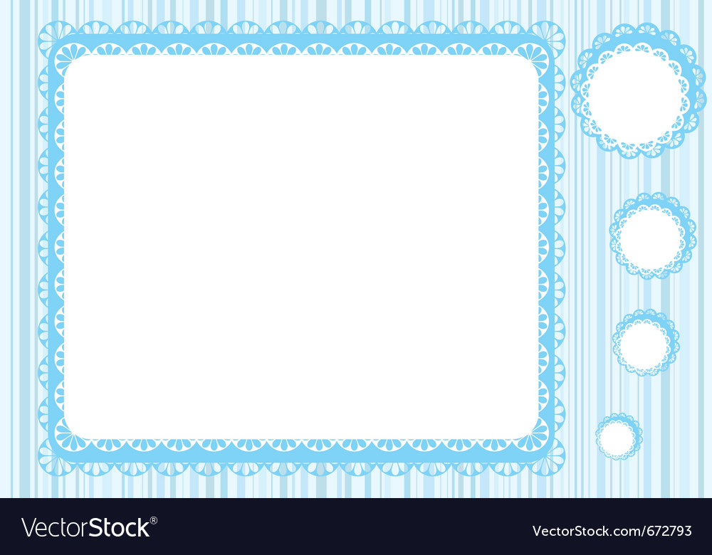 Graphic lace frame in blue tones simple