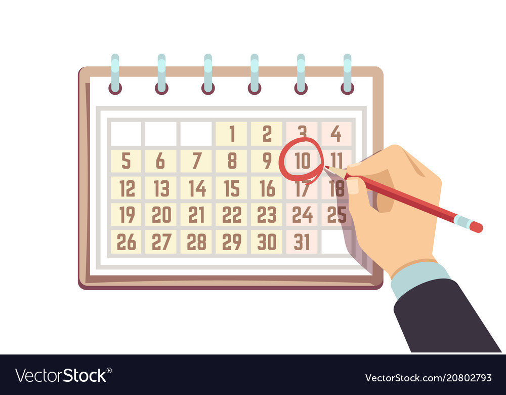 Hand with pen marks date in calendar deadline and