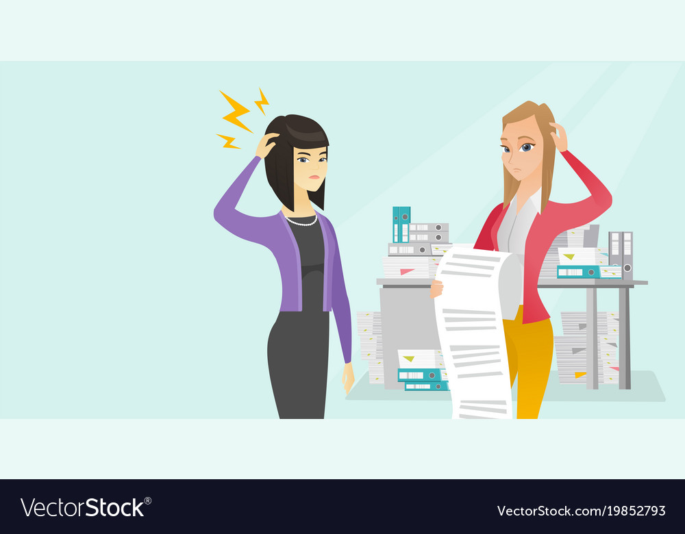 Multicultural business woman holding long bill vector image