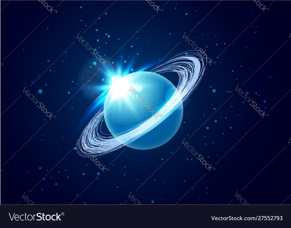 Planet uranus in space background with star the