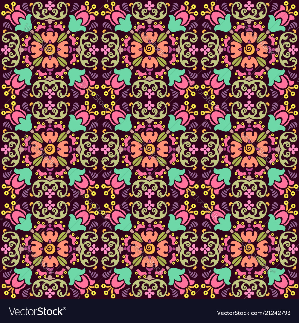 Seamless floral pattern with smooth color