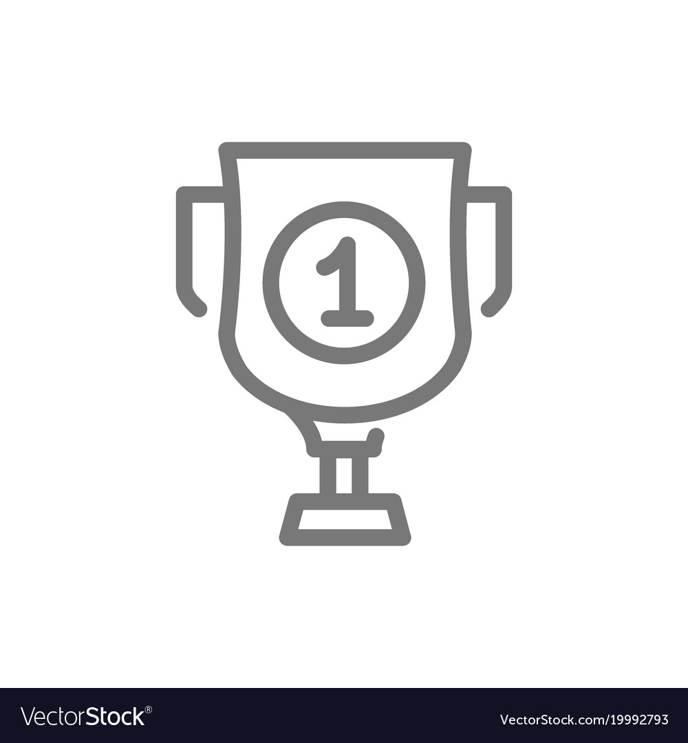 Simple Trophy And Award Cup Line Icon Symbol Vector Image