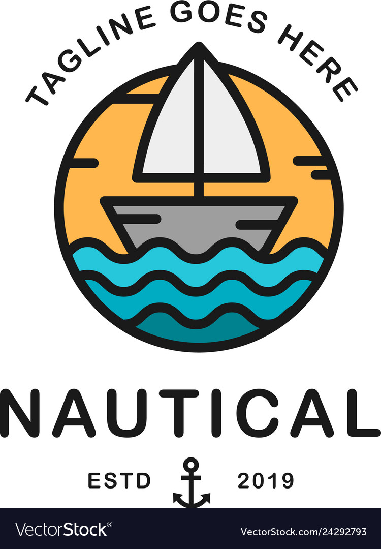 Summer travel design - sail boat nautical logo