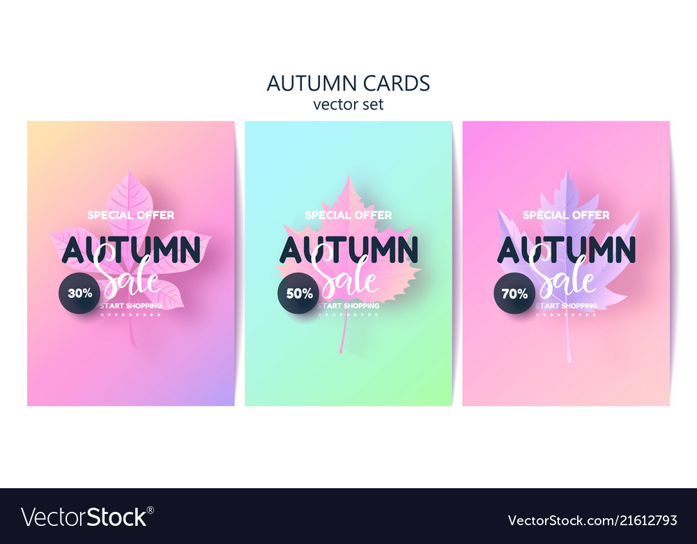 Trendy autumn background with leaves gradient