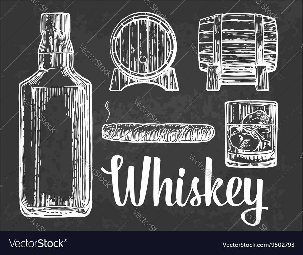Whiskey glass with ice cubes barrel bottle vector image