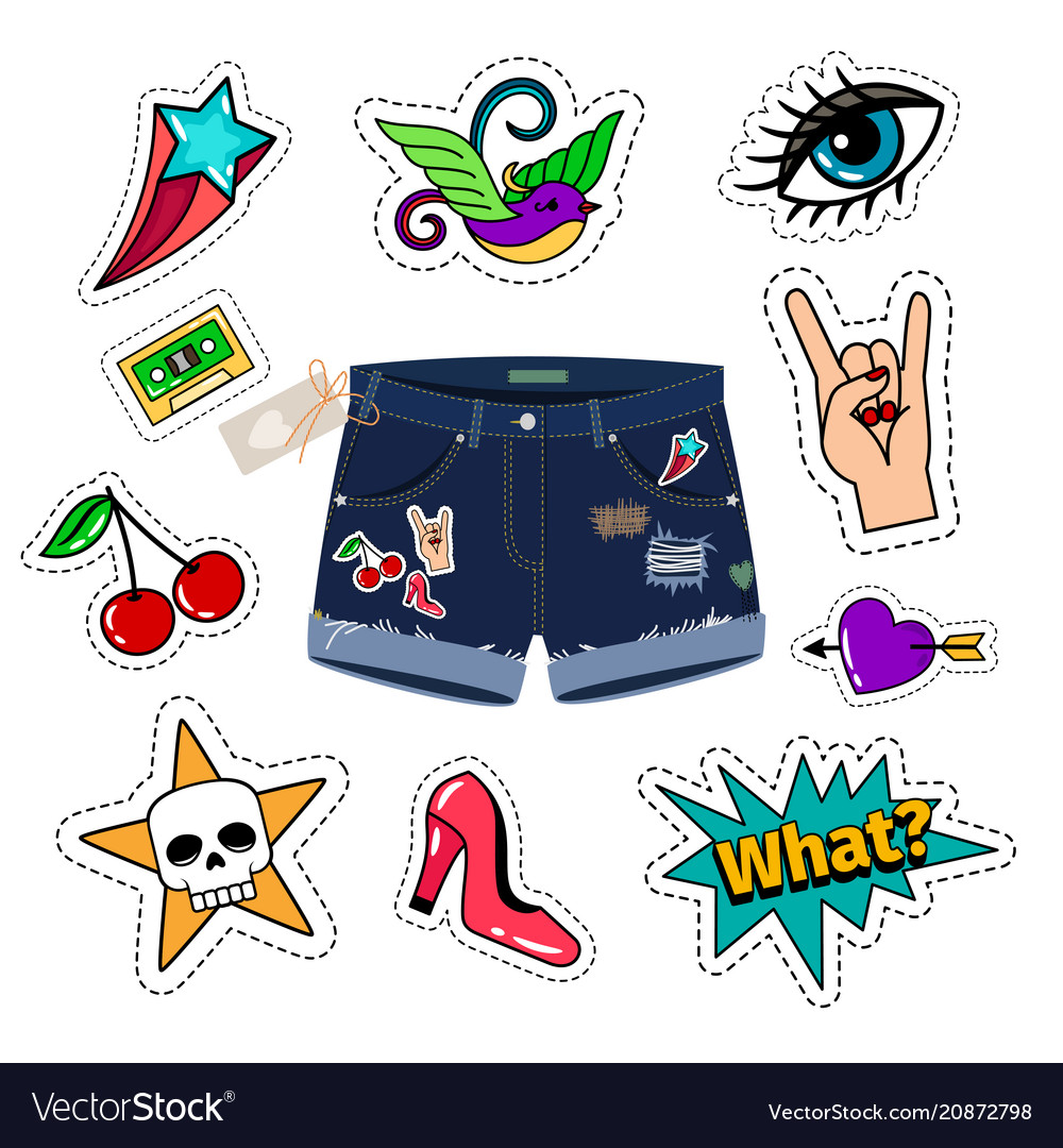 Chic denim shorts with patch set vector image