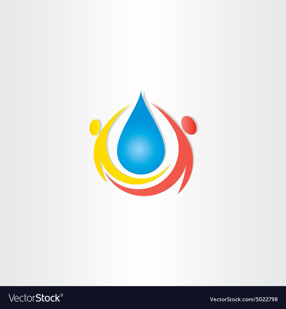 Cold mineral drop of water people icon