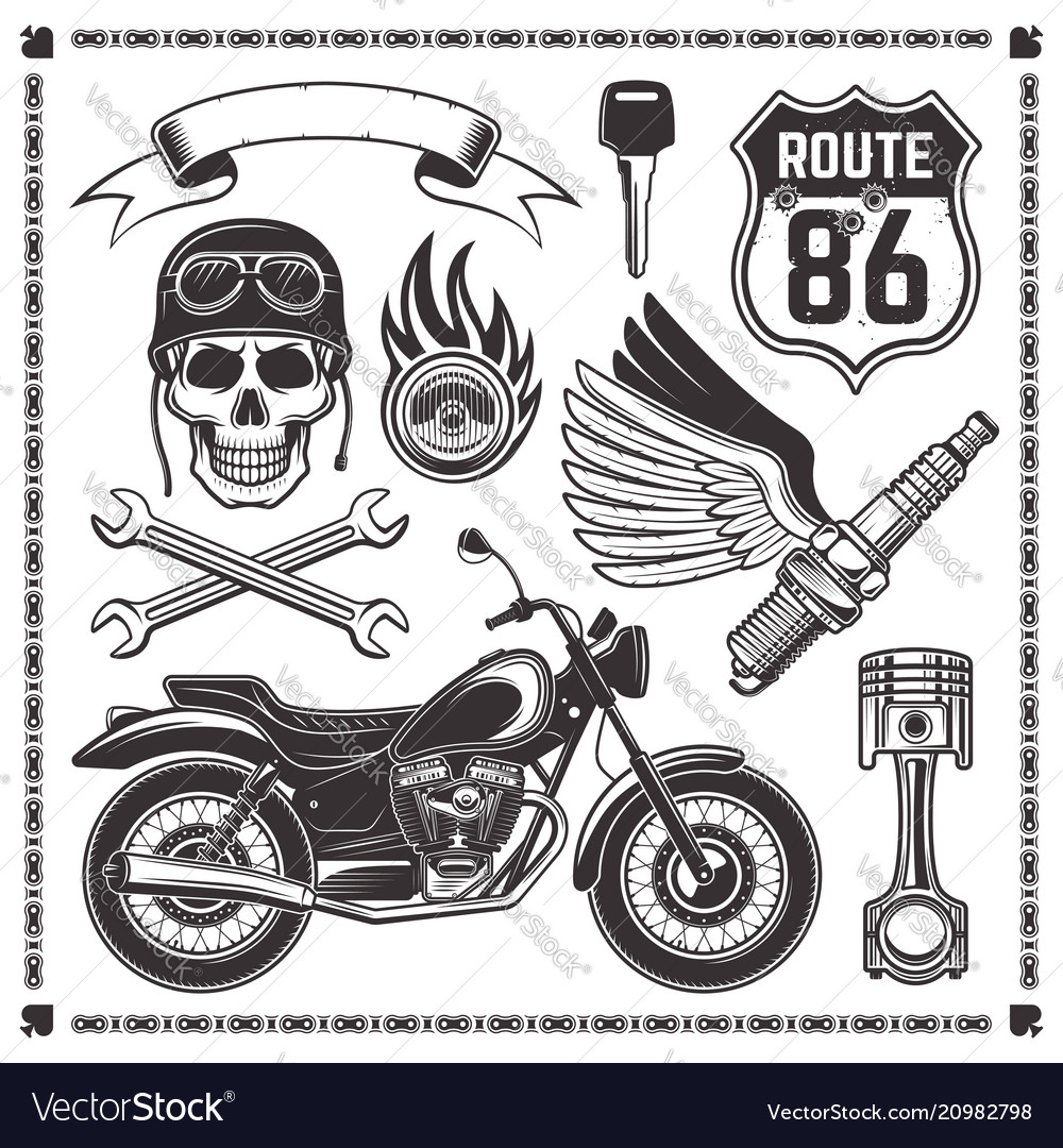 Motorcycle and attributes bikers elements