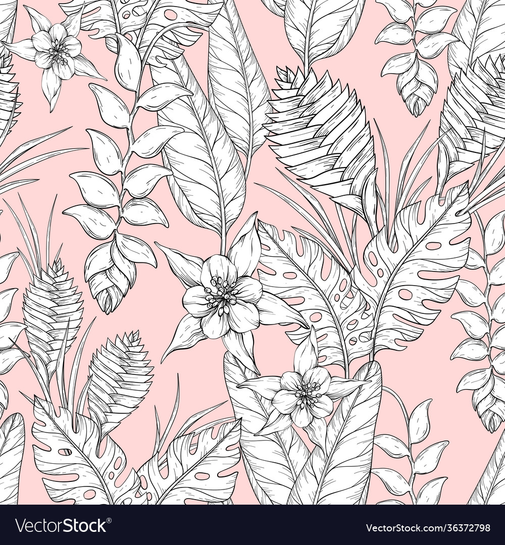 Seamless monochrome floral pattern with hand drawn