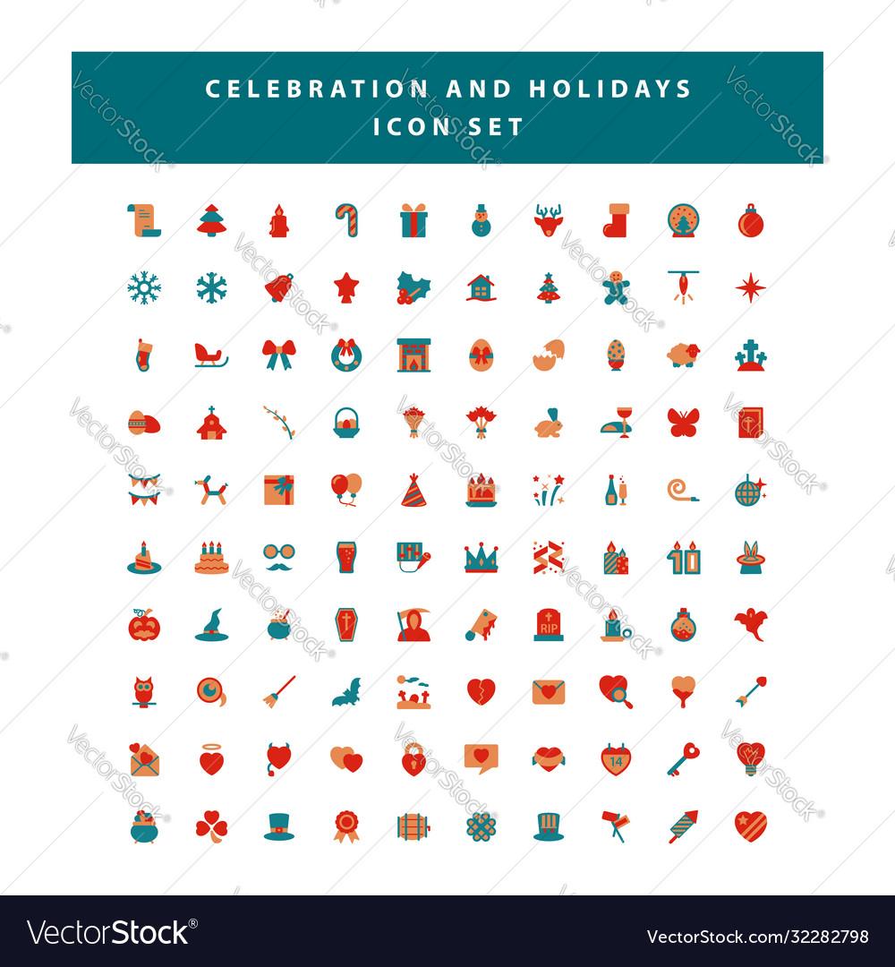 Set celebration and holidays icon