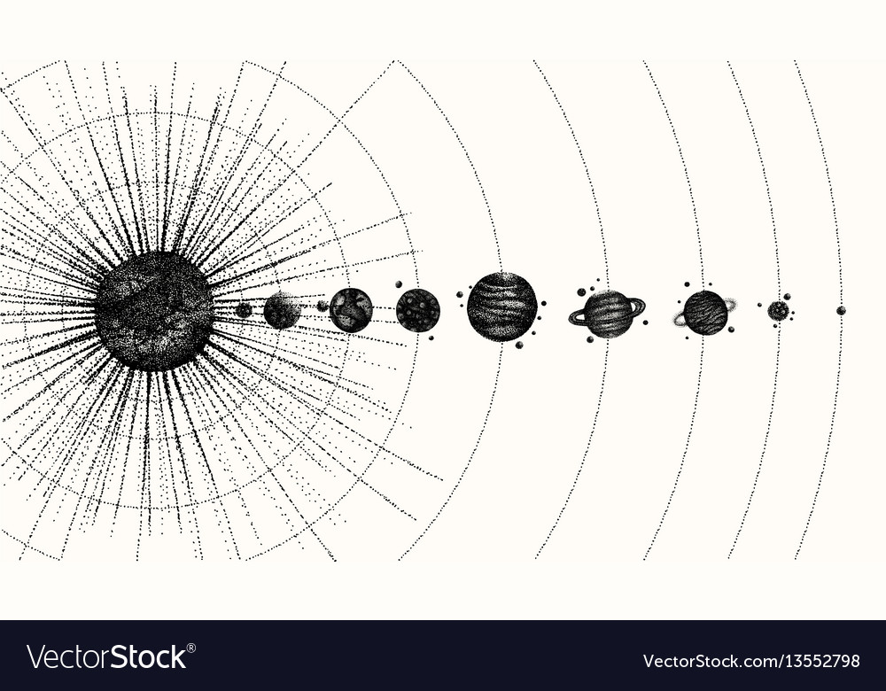 Solar system in dotwork style planets in orbit