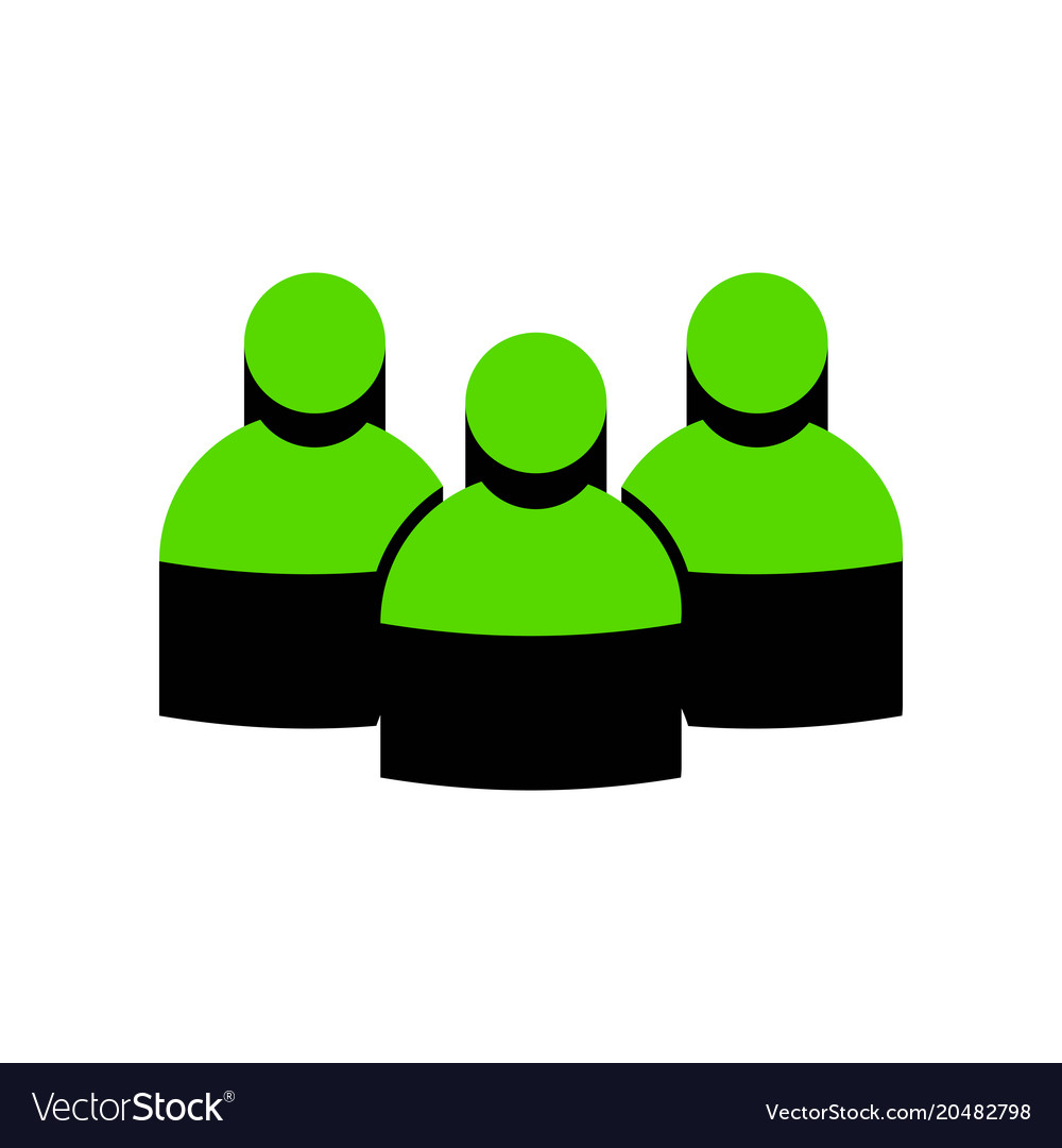 Team work sign green 3d icon with black
