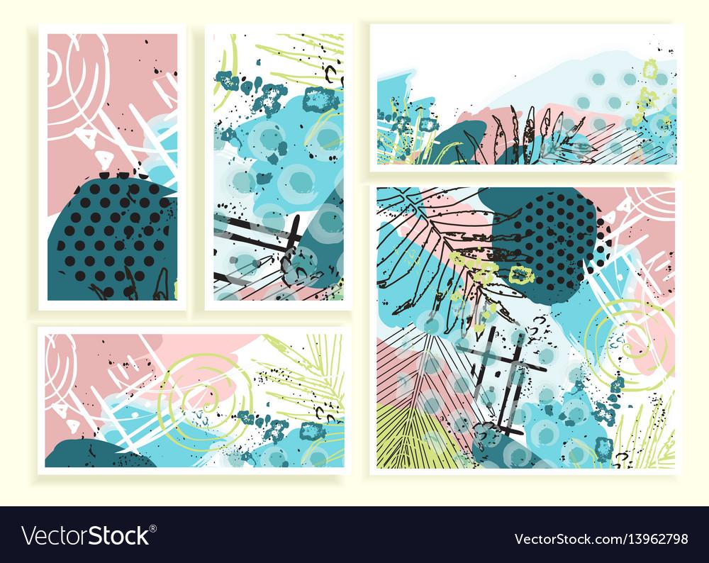 Universal floral cards set vector image
