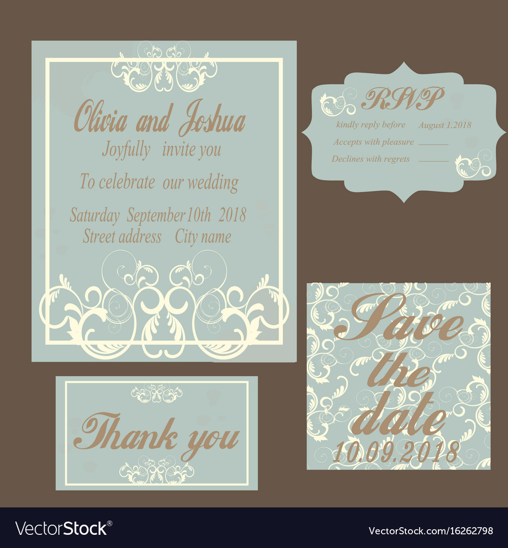 Vintage wedding invitation template Royalty Free Vector