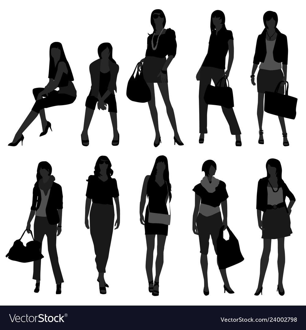 Woman female girl fashion shopping model a set of