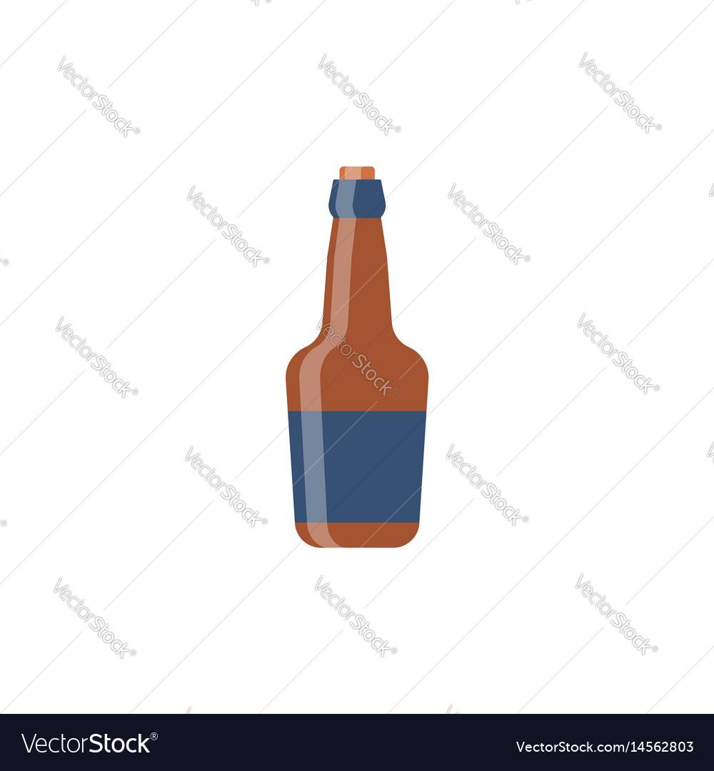 Bottle glass whiskey flat design vector image