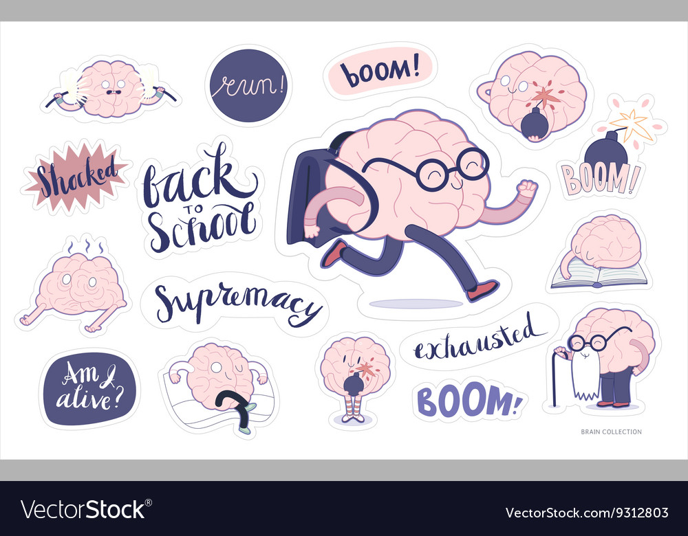Brain stickers education and stress set vector image