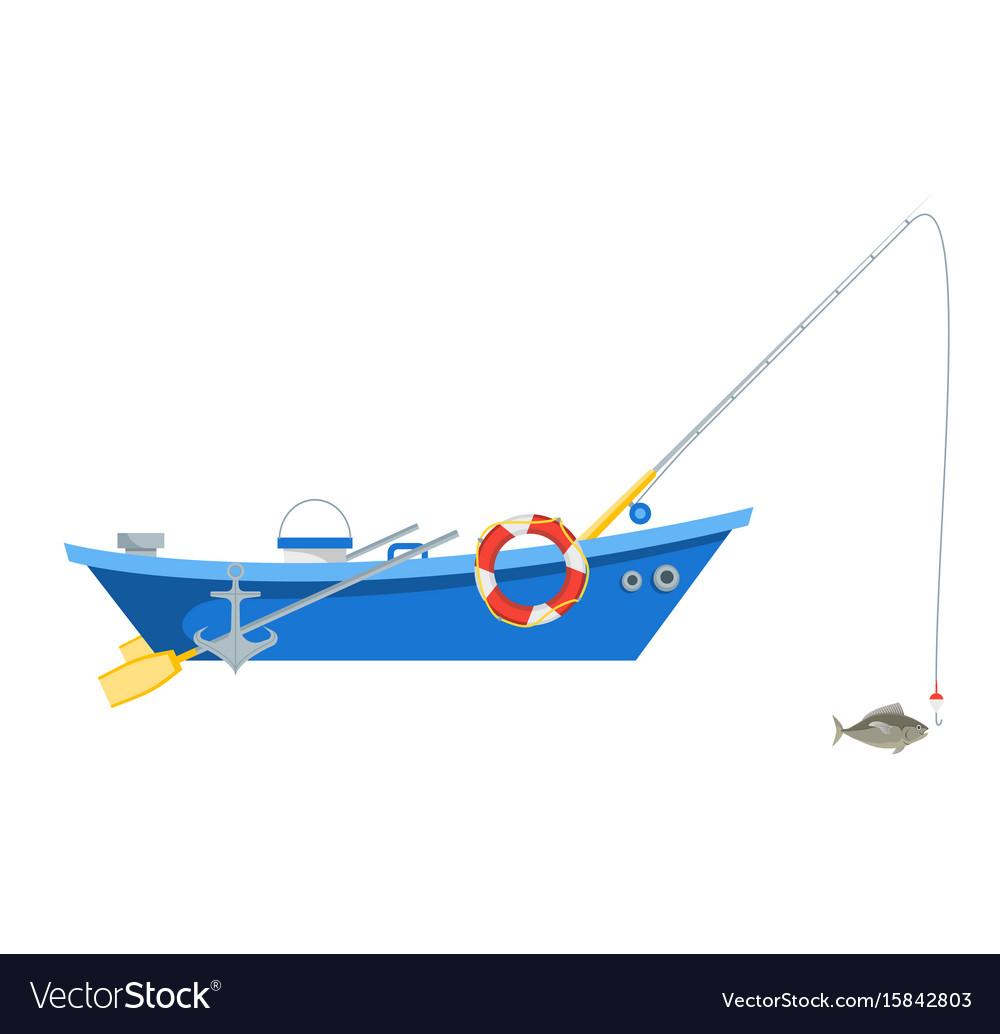 Cartoon fishing boat isolated on white background