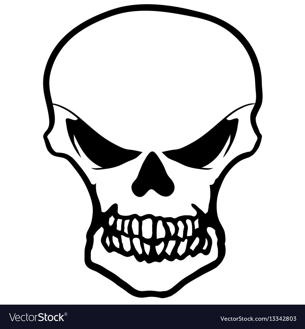 Collection of hand drawn skulls in monochrome vector image