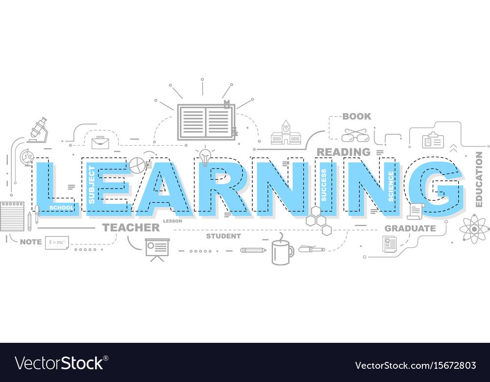 Design concept of word learning website banner