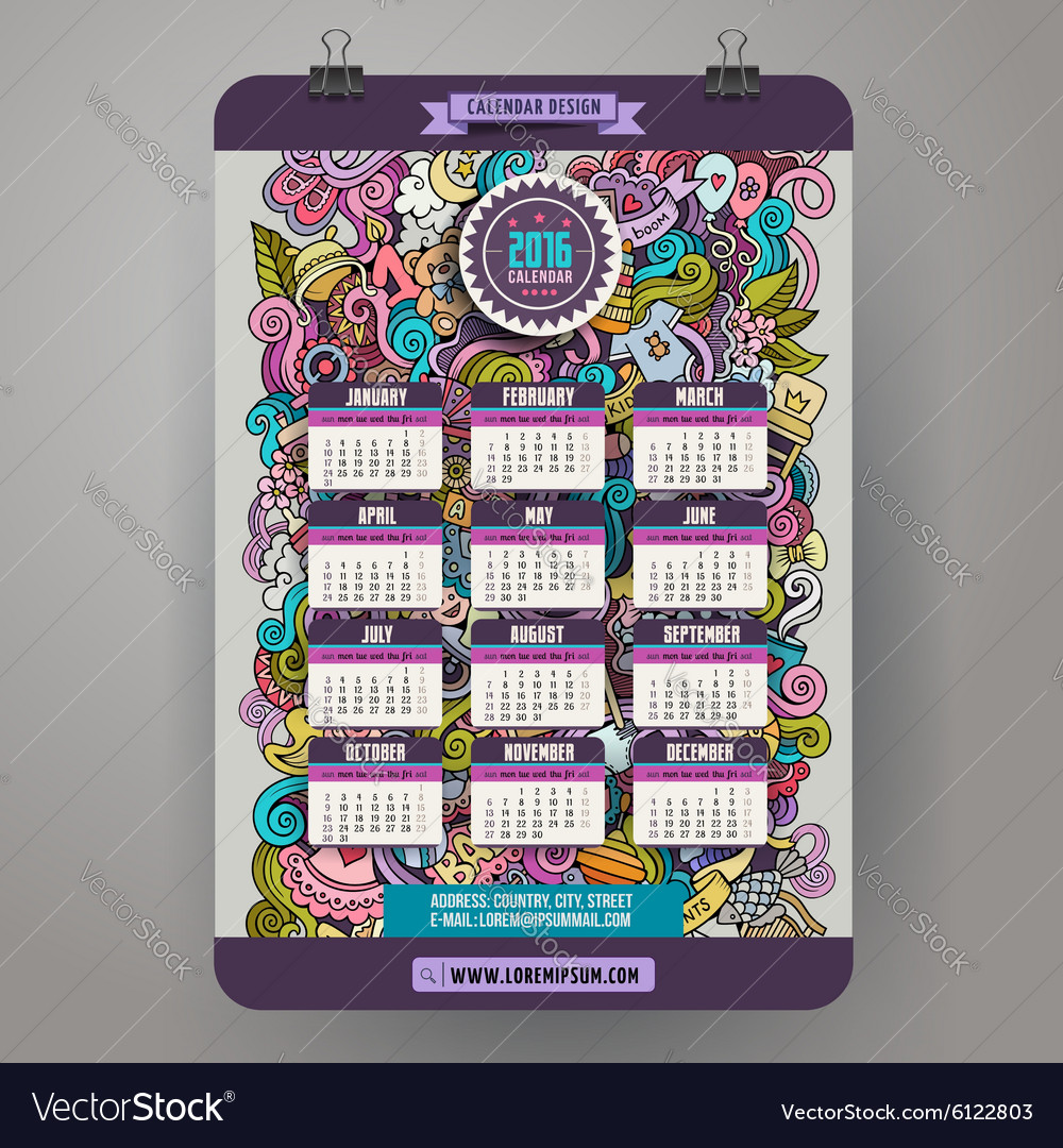 Doodles hand drawn colorful cartoon Baby Calendar