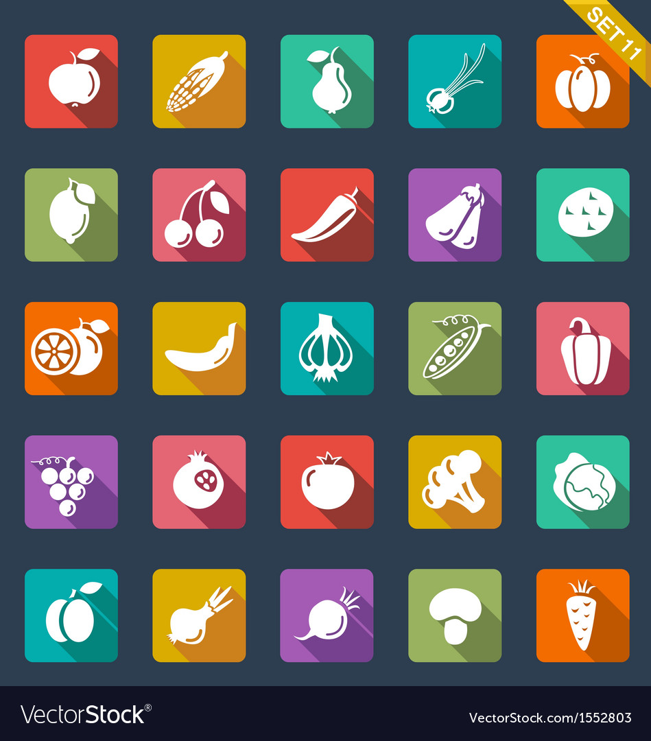 Fruit and vegetables icons - flat design