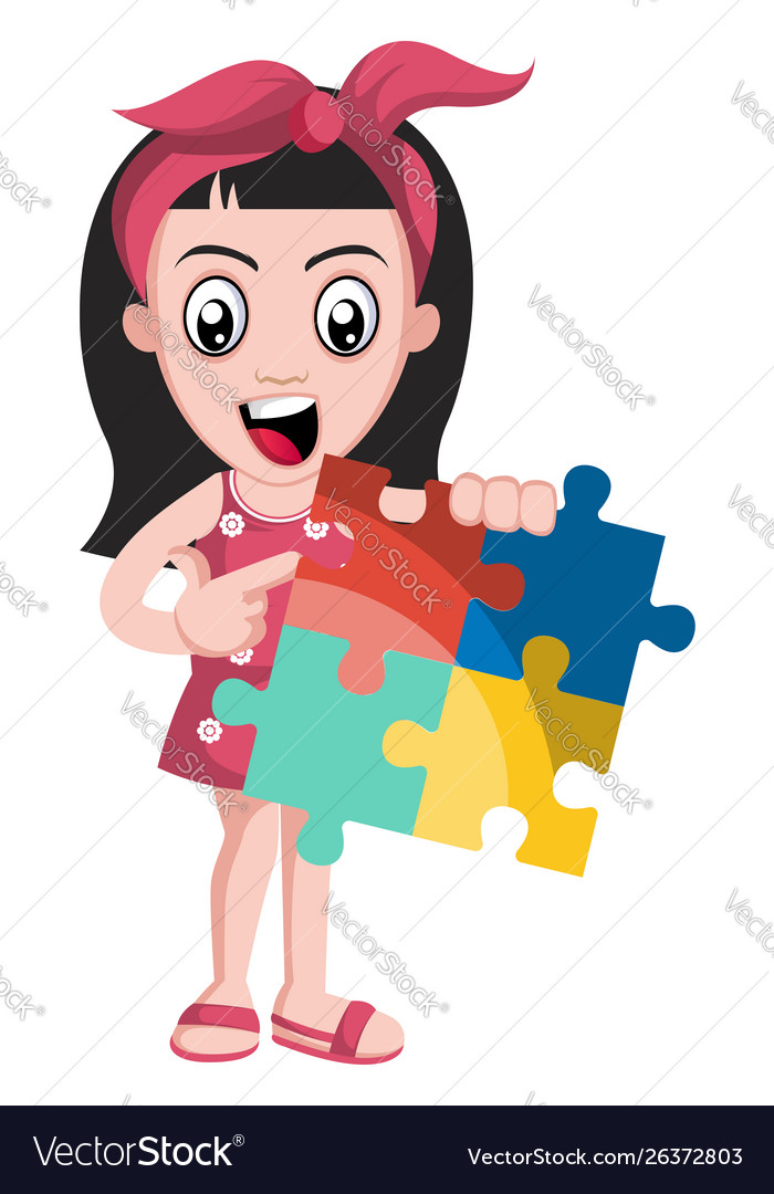 Girl with puzzle on white background