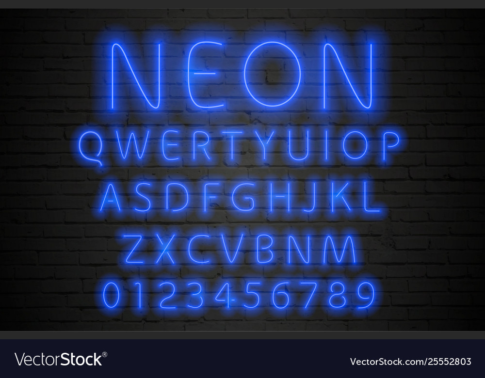 Glowing blue neon alphabet neon letters and
