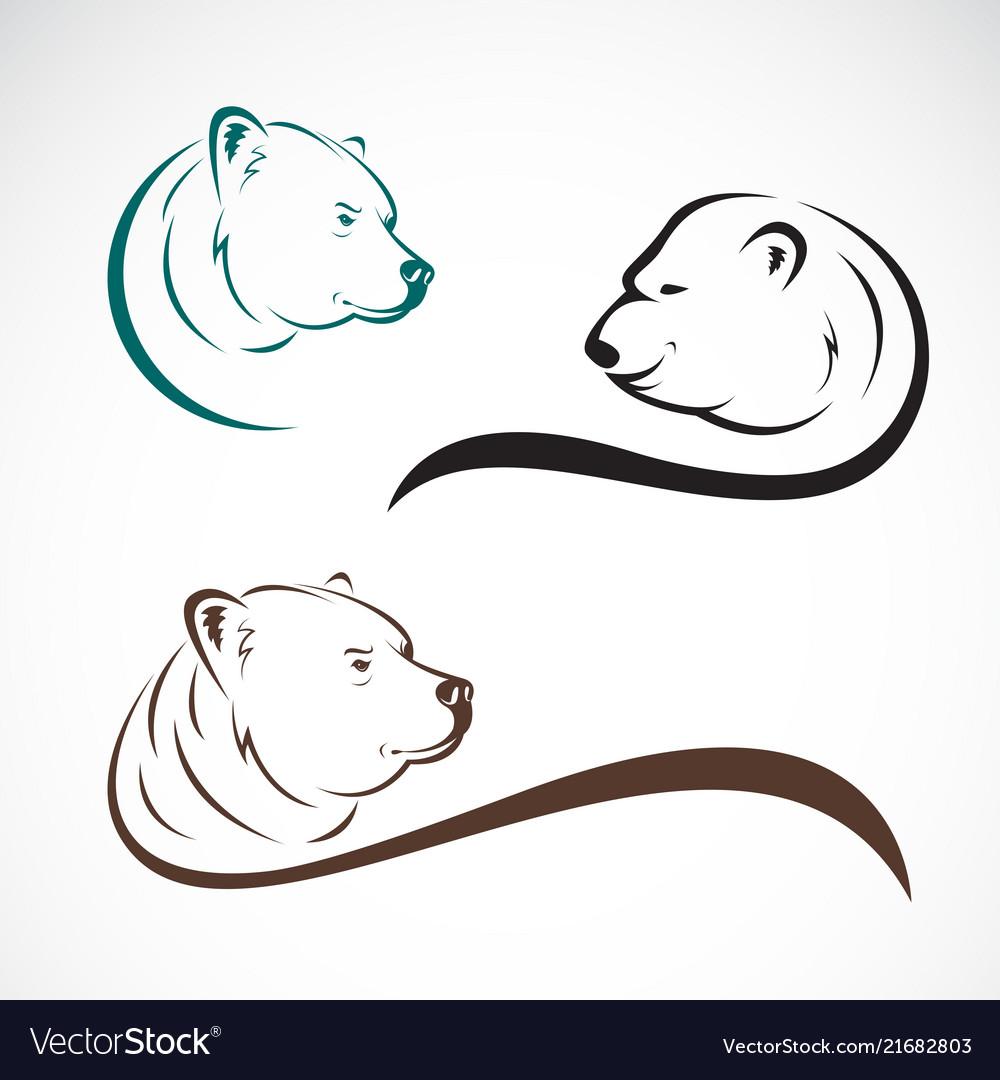 Group bear head design on white background