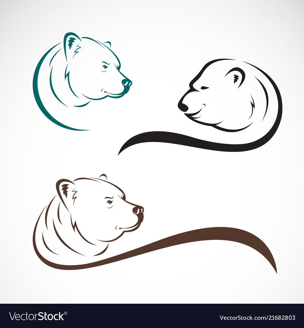 Group of bear head design on white background