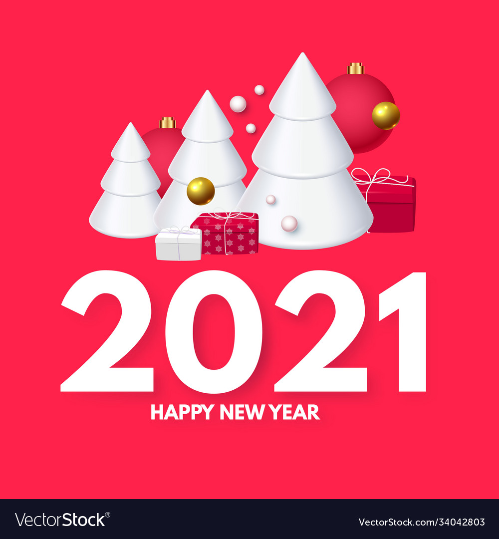 Happy new 2021 year design template with 3d