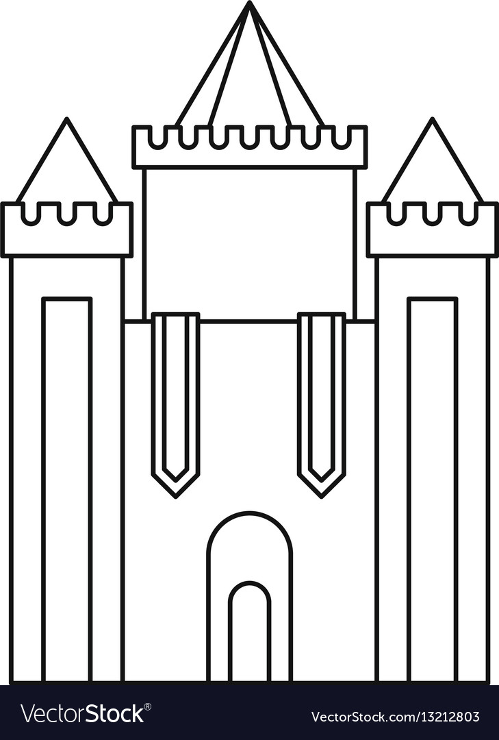 Medieval Castle Icon Outline Style Royalty Free Vector Image