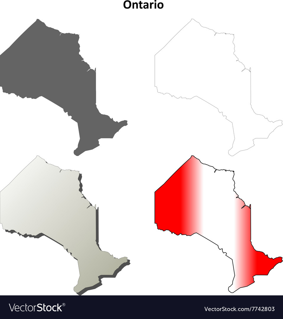 Ontario blank outline map set vector image