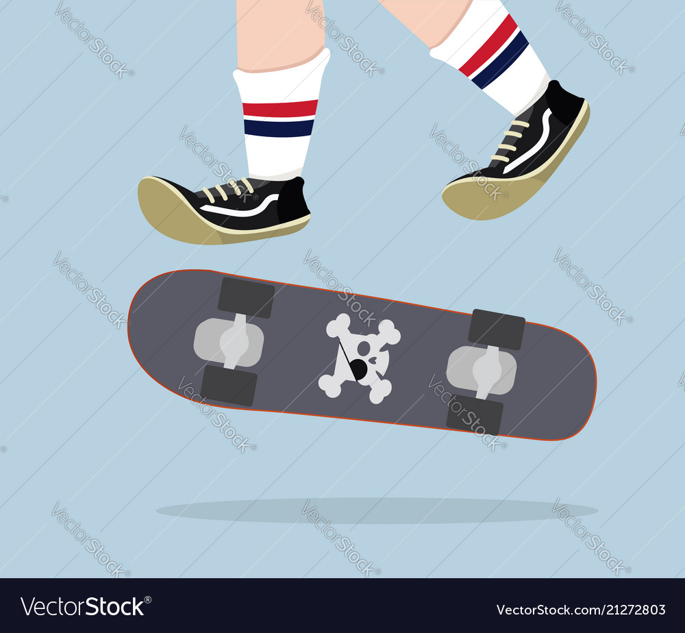 Skateboarder with skateboard