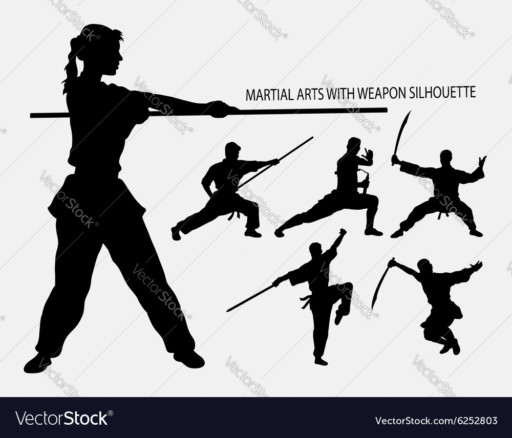 Wushu with weapon martial arts sport silhouette