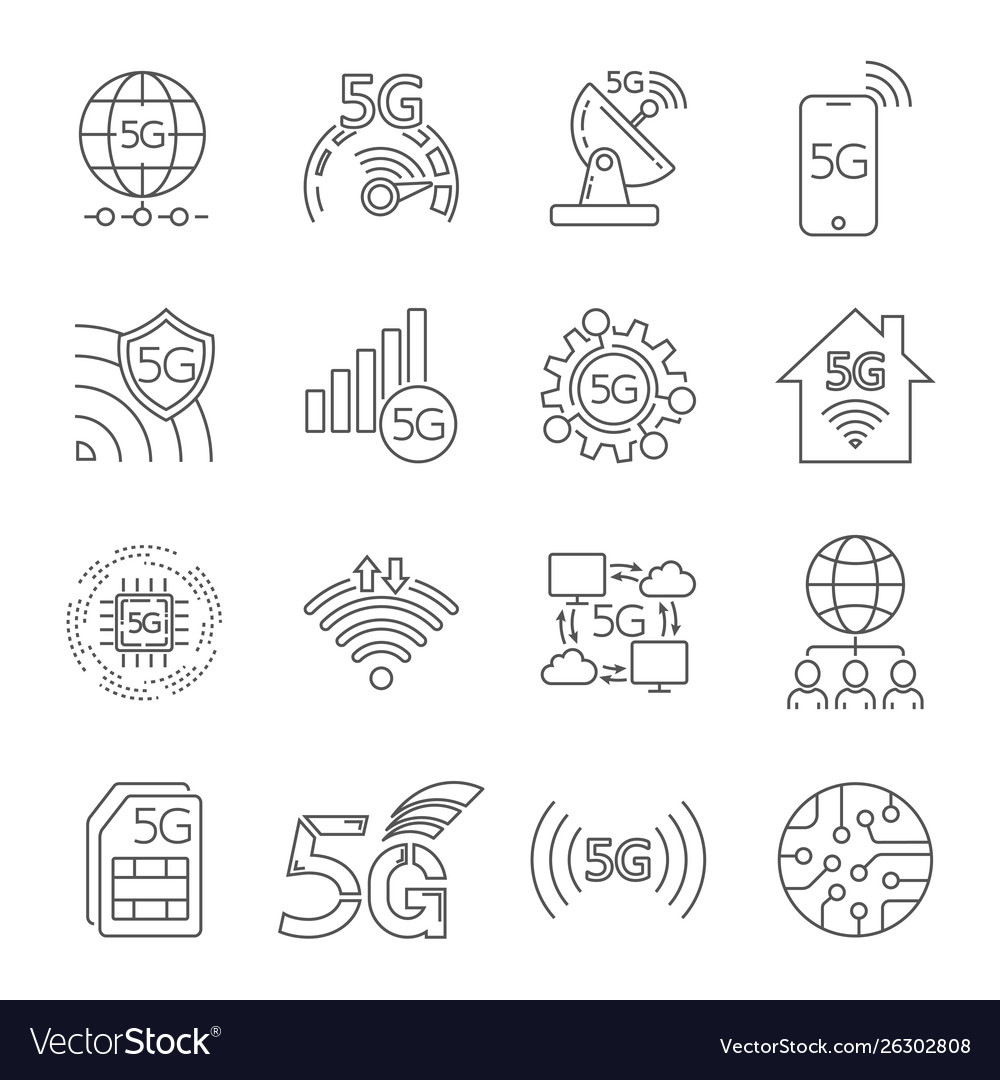 5g technology icons set outline set 5g
