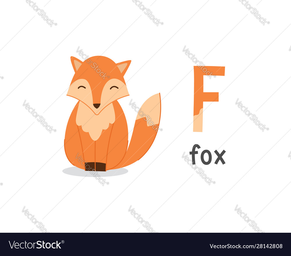 Alphabet letter f and fox