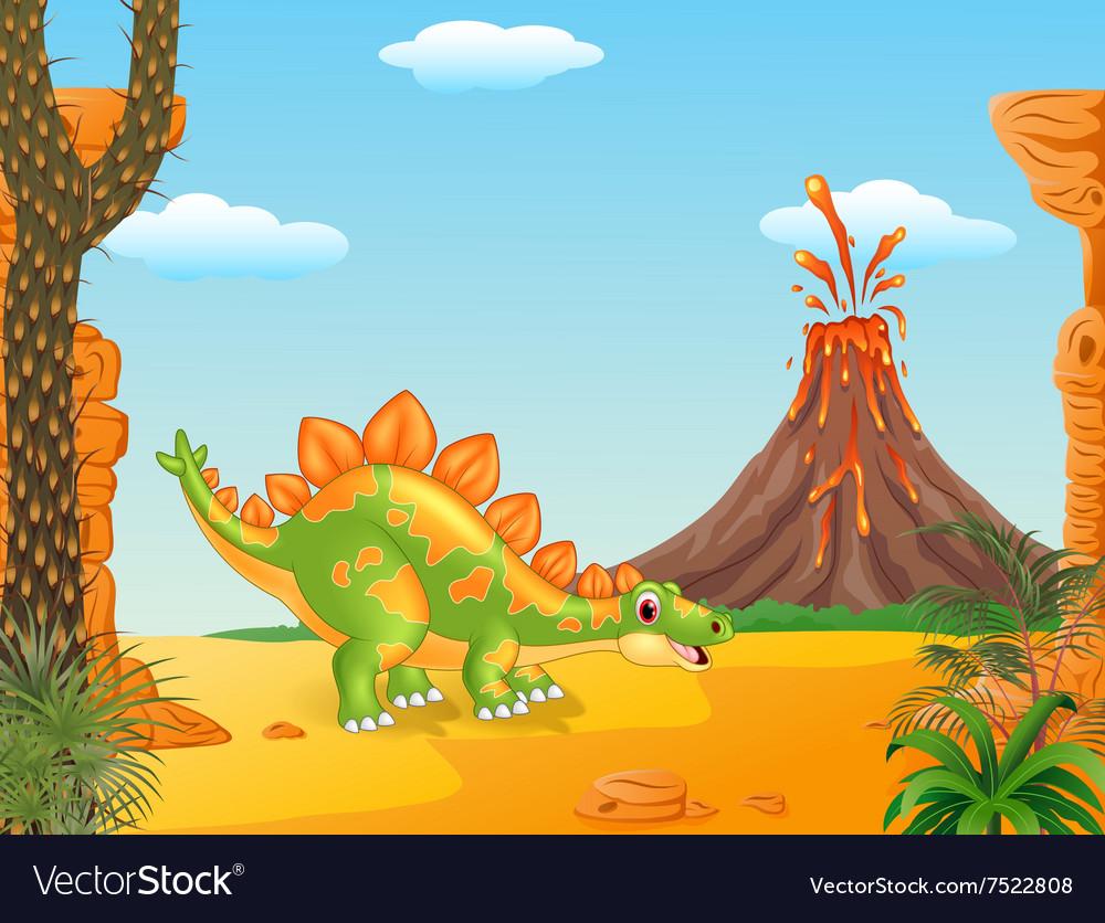 Cartoon funny stegosaurus posing
